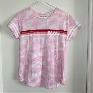 Savage Pink Tie Dye T-shirt with Striped design